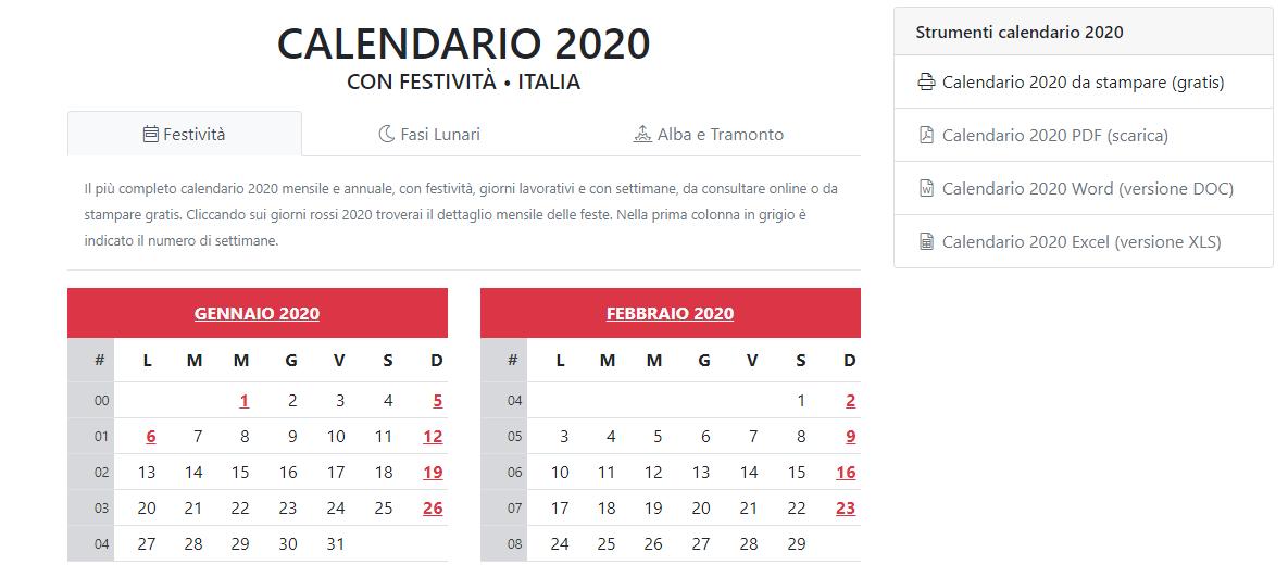 Calendario Alba Tramonto 2020.Il Calendario Come Strumento Di Prevenzione Le Date Piu